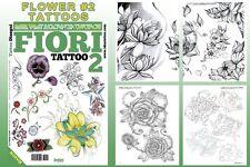 FIORI 2 FLOWERS Tattoo Flash Design Book 66-Pages Cursive Writing Art Supply