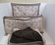 Handmade Precious Girls 3-Piece Baby Bedding Set Pink and Brown Toile Print