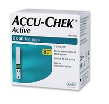 Accu Chek Active 100( 2X50 )Test Strips-1Code Chip-Expiry Mar 2020 Free Shipping