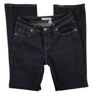 Chico's Platinum Women Sz 0.0 | 4 Short Dark Wash Jeans Pants Straight Leg Black