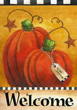 "Pumpkin Autumn Welcome Primitive Garden Flag Fall Briarwood Lane 12.5"" x 18"""