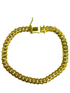 "14k Solid Yellow Gold Miami Cuban Link Bracelet 5mm-7mm Sz 7""-9"""
