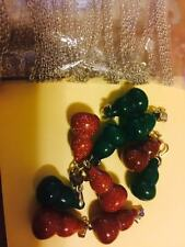 Natural Quartz Crystal Semiprecious Stone Pendant + chain Gold Sparkle X 1