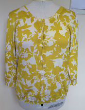 SPORTSCRAFT Mustard Yellow Beige Silk Cotton Blend 3/4 Length Cardigan L