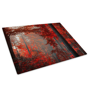 Red Black Grey Forest Cool Glass Chopping Board Kitchen Worktop Saver Protector