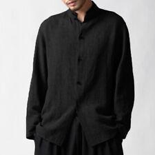 Incerun S-5xl Mens Casual Shirts Cotton Linen Vintage Loose Long Sleeve Tops Tee Black XL