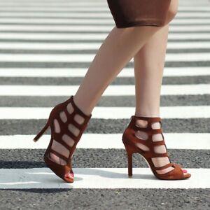 Women Hollow Back Zipper Ankle Boots Stiletto High Heel Booties Peep Toe Shoes