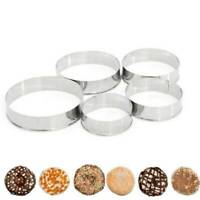 5X/Set Metal Round Cookie Biscuit Cutter Stainless Steel Pastry Cutter Molds New