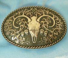 Sterling Silver Deer Skull, Oak Leaf Buckle, 3 1/2 Inch.