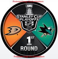 2018 Stanley Cup Playoffs 1st Round Hockey Puck Anaheim Ducks vs San Jose Sharks