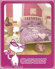 DOUBLE BED GLAMOUR PUSS PINK DUVET COVER SET COOL SUNGLASSES CAT KITTEN CERISE