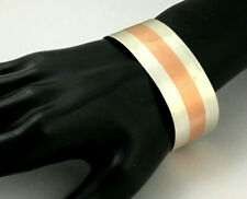 Copper Abstract Signed Bracelet Hand Made Sterling Silver &