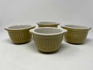 Set Of 4 Small English Mixing Bowls Ceramic Yellow White Inside Built In Handles