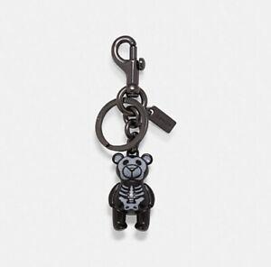 Authentic Coach Skeleton Teddy  Bear Key Chain Ring Bag Charm NEW 6072