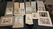 LOT OF 13 CABINET CARD VINTAGE BLACK WHITE PHOTOS W/ FOLD OUT DISPLAY 1920-40S
