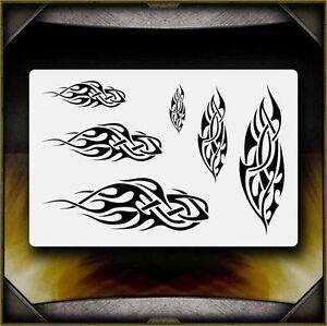 """Flames 1"" Airbrush Stencil Template Airsick"