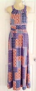 KUT FROM the KLOTH Womens Dress Size 6 Multi Color Stretchy Knit Maxi Keyhole