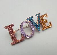 Betsey Johnson Colorful Crystal Rhinestone Love Brooch Pin