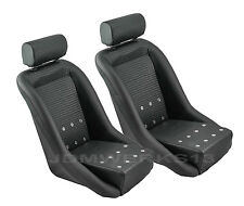 RETRO CLASSIC VINTAGE RACING BUCKET SEATS BLACK PVC BASKETWEAVE W SLIDERS (PAIR)