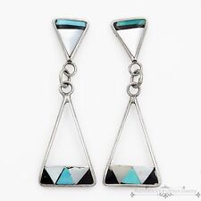 Vintage Native Zuni Pawn Sterling Silver Inlay Turquoise Onyx MOP Earrings!
