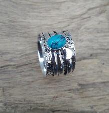 Turquoise Solid 925 Sterling Silver Spinner Meditation Statement Ring V869