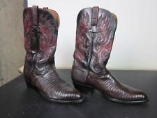 Lucchese Men's Cowboy Western Boots Black Cherry Teju Lizard 10.5 EE R Toe