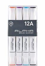 Alpha Brush Marker Twin Tip Set 12A Colors Graphic Art Design Brush Broad Nibs