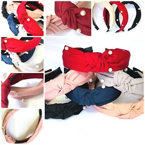 6- 12 Wide Turban Headbands Women Hard Top Bow Cross Knotted Hairband GIFT PACK