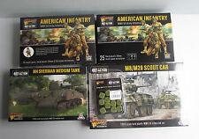 WARLORD GAMES BULLONE azione esercito americano, FANTERIA. SHERMAN TANK, M8 Levriero e dadi