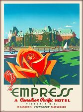 The Empress Hotel Victoria Canada Canadian Vintage Airline Travel Poster Print