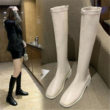 2020 Winter Fashion Thigh High Long Flat Boots Low Heel Knee High Rider Boots