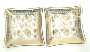 """SET OF 2 GEORGES BRIARD GOLD CLEAR GLASS SQUARE TRAY BOWL 5.5"""" X 5.5"""" SIGNED"""
