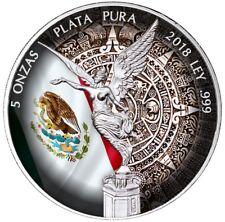 2018 5 Oz Silver MEXICAN AZTEC CALENDAR LIBERTAD Coin.  IN MINT CAPSULE.