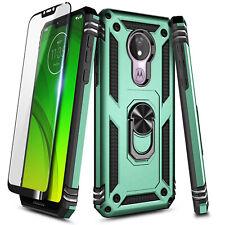 For Motorola Moto G7 Power/g7 Optimo Maxx Case Ring Stand Cover + Tempered Glass