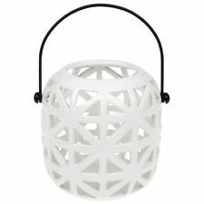 White Lites Tealight Holder Barrel Shaped Cut Out Lantern & Handle 45700