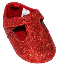 First Impressions Baby Girl 3-6 Months Metallic Glitter Shoes Dark Ruby NWT