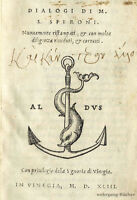Aldine: Speroni: Dialogi. Aldus Manutius Nachf., Venedig, 1543.