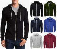 Plain Men Fleece Zip Up Hoody Jacket Sweatshirt Hooded Top Coat Sport Gym Casual