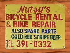 "TIN-UPS TIN SIGN ""Nutsy's Bike Rental And Repair"" Garage Bicyles Wall Decor"