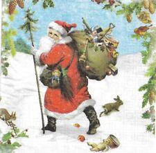 2 Serviettes en papier Père Noël Decoupage Paper Napkins Santa is near
