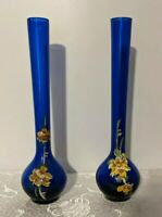 Vintage Matched Pair Cobalt Blue Delicately Hand Decorated Art Glass Bud Vases
