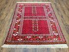 Antique Hatchli Oriental Rug Fine Red Carpet Four Seasons Ersari Tekkeh 3.11 x 5