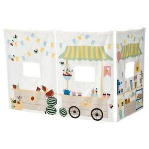 IKEA KURA Bett Spiel Vorhang Umrandung Hochbett Gardine Kinder Marktbudenmuster
