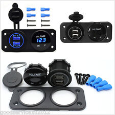 12/32V Car 2-Hole Panel Blue LED Angel Eye Digital Voltmeter & Dual USB Charger