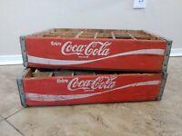 Vintage 1970's Coca Cola Wood Soda Pop Crate 24 Dividers