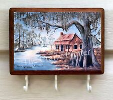"Wooden Key Holder Plaque - Original Artwork - ""Cajun Mossy Bayou"""
