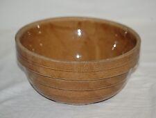 Old Vintage Stoneware Crock Pottery Tan Ribbed Ring Mixing Bowl Kitchen Tool USA
