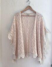 Brette Sandler Swimwear Boho Peach Pink Lace Crochet Trim Kimono Coverup Sz M