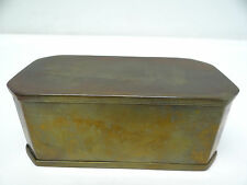 Antique Old Brass Metal Early Hinged Small Rectangular Trinket Jewelry Box
