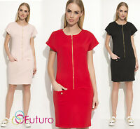 Ladies Cocktail Dress With  Front Zip Short Sleeve And Pockets FA546
